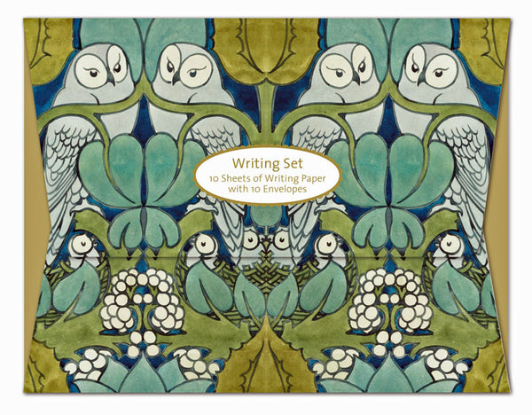 "<p>Writing set of CFA Voysey's Owls design containing 10 sheets of high quality A5 printed writing paper with 10 envelopes encased in an attractive matt laminate folder (7 3/8"" x 9.5"").</p>"