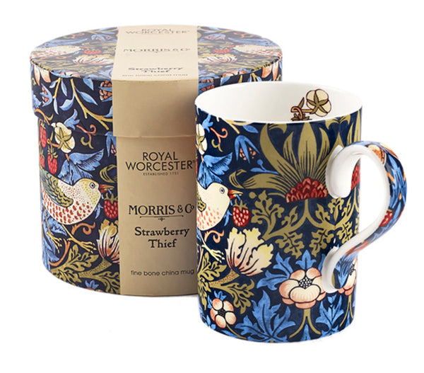 <p>Elegant fine bone china mug in the charming Strawberry Thief blue design as part of the Royal Worcester's William Morris range.</p>