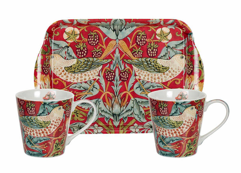 <p>Charming small fine bone china mugs and melamine tray set in the Strawberry Thief red design as part of the Pimpernel's William Morris range.</p>