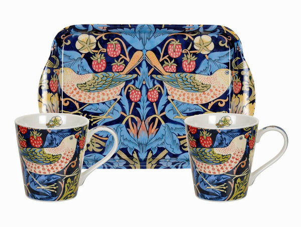 <p>Charming small fine bone china mugs and melamine tray set in the Strawberry Thief blue design as part of the Pimpernel's William Morris range.</p>