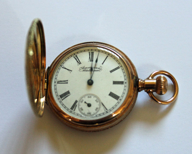 Beautiful Victorian 14 ct gold jewel American Waltham full hunter pocket watch dated 1897.