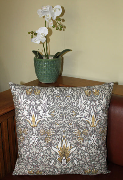 <p>Cotton filled cushion in William Morris Snakeshead print. Made from Morris & Co by Sanderson fabric.</p>