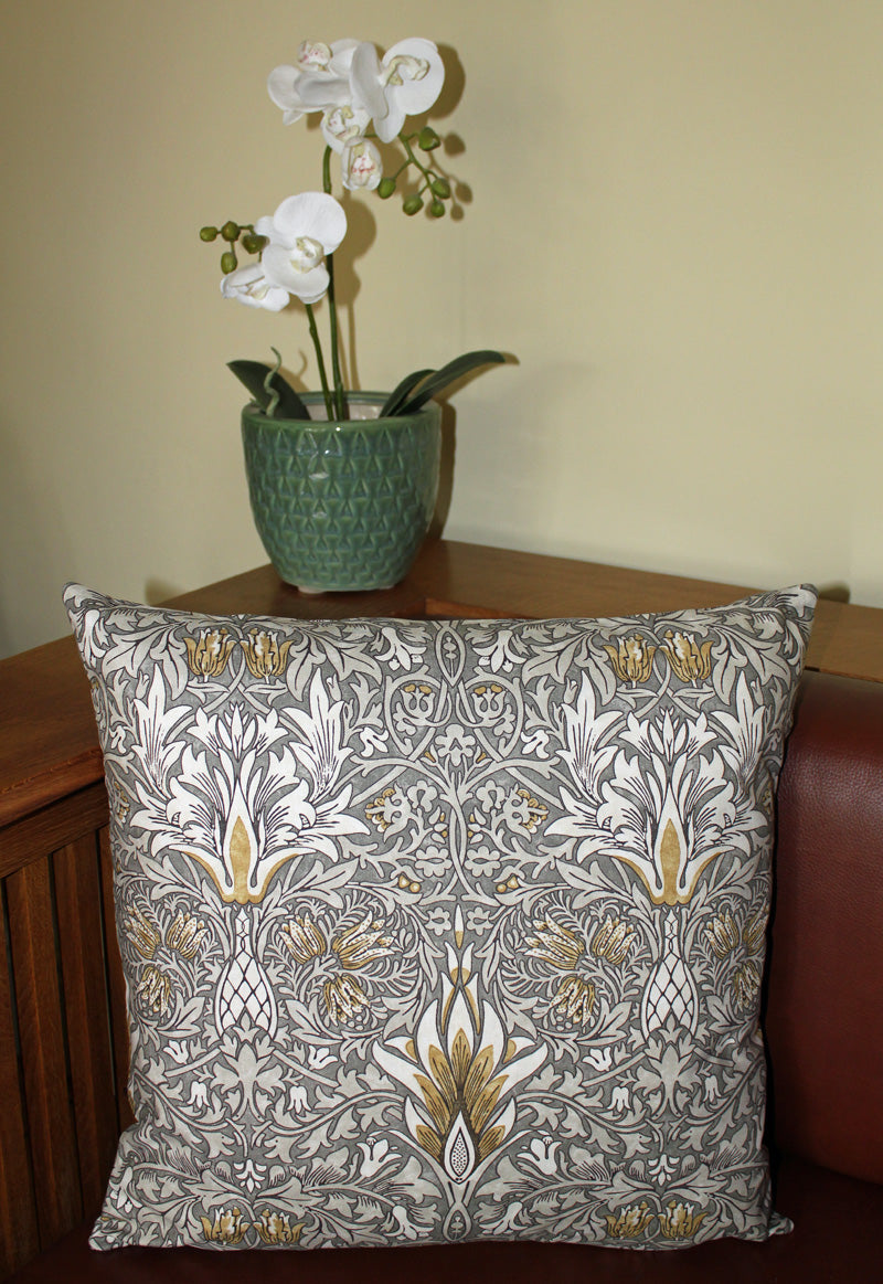 <p>Cotton cushion cover in William Morris Snakeshead print. Sanderson fabric.</p>