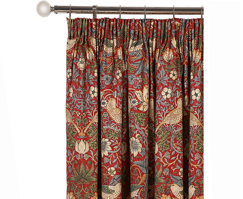 Pair of William Morris Strawberry Thief Crimson Lined Curtains - 3 sizes