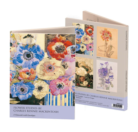 <p>8 note cards (2 each of 4 designs) and white envelopes of flower studies by Charles Rennie Mackintosh.</p>