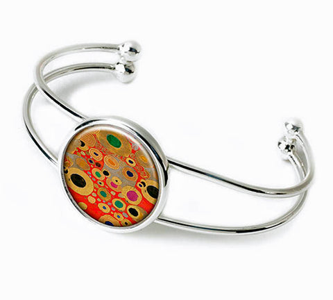 Gustav Klimt Red Silver Plated Bangle