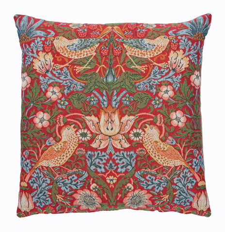 William Morris Strawberry Thief Red Tapestry Cushion