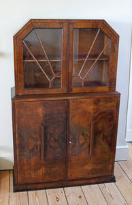 <p>Lovely walnut veneered antique Art Deco display cabinet circa 1930. </p>
