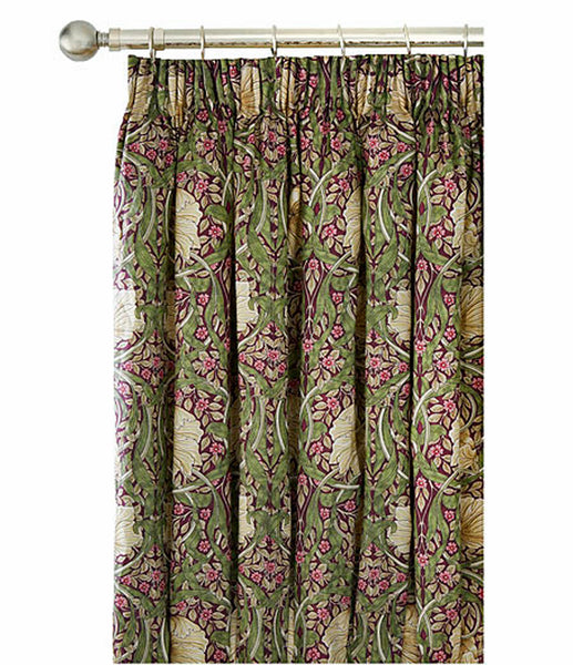 Pair of William Morris Pimpernel Aubergine Lined Curtains - 3 sizes