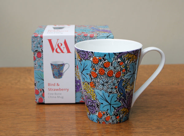 V & A Voysey Bird and Strawberry Mug in Matching Gift Box