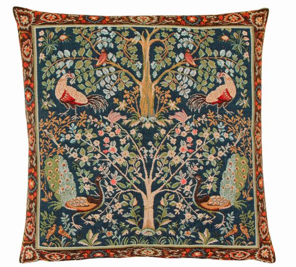 William Morris Birds and Trees Blue Tapestry Cushion