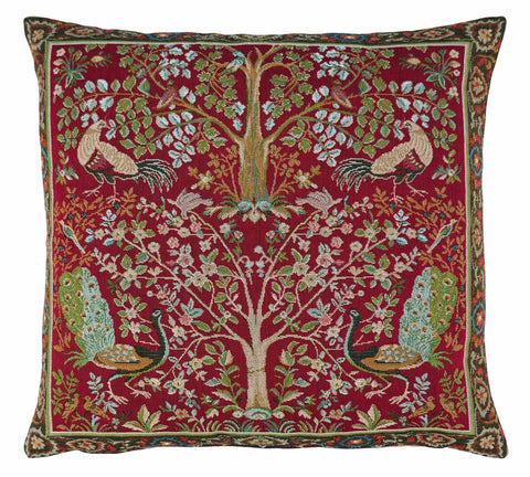 William Morris Birds and Trees Red Tapestry Cushion