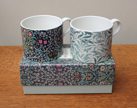 Spode William Morris Blackthorn & Willow Bough Mugs, Set of 2 in a Gift Box
