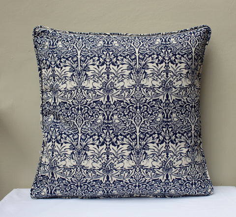 William Morris Brother Rabbit Blue Piped Edge Cushion Cover