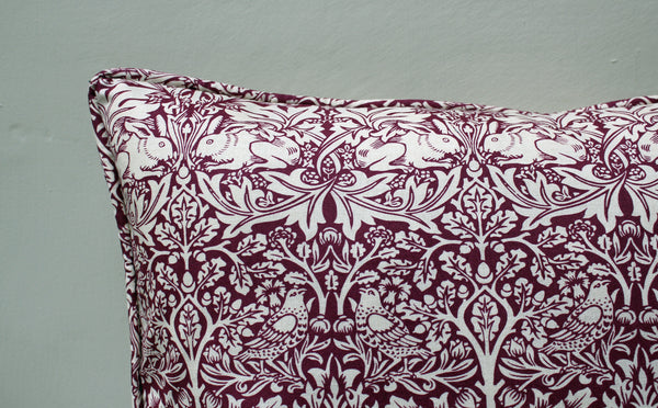 William Morris Brother Rabbit Red Cushion Piped Edge
