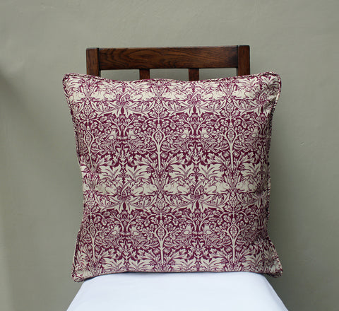 William Morris Brother Rabbit Red Piped Edge Cushion Cover