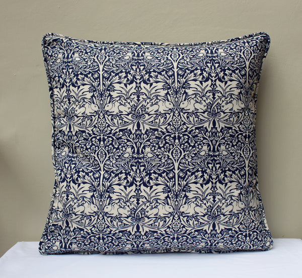 William Morris Brother Rabbit Blue Cushion Piped Edge