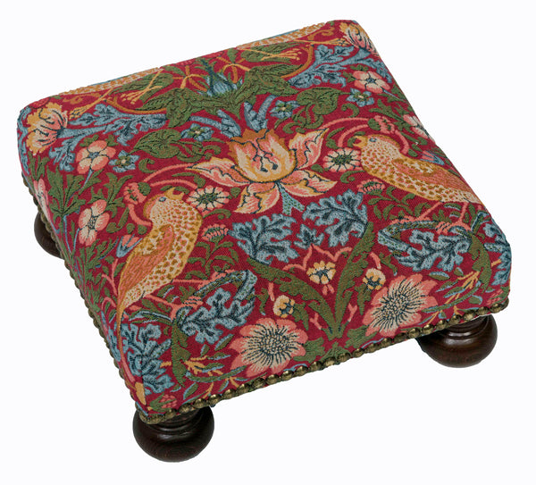 William Morris Strawberry Thief Red Tapestry Footstool