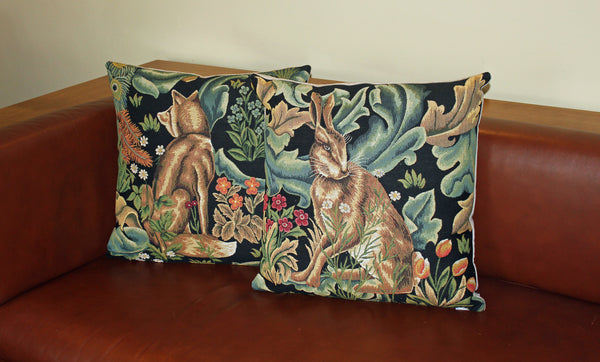 Pair of The Forest Hare & Fox Tapestry Cushions