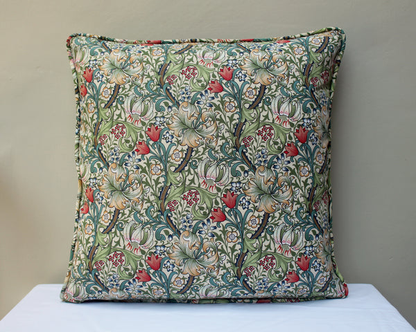 William Morris Golden Lily Piped Edge Cushion