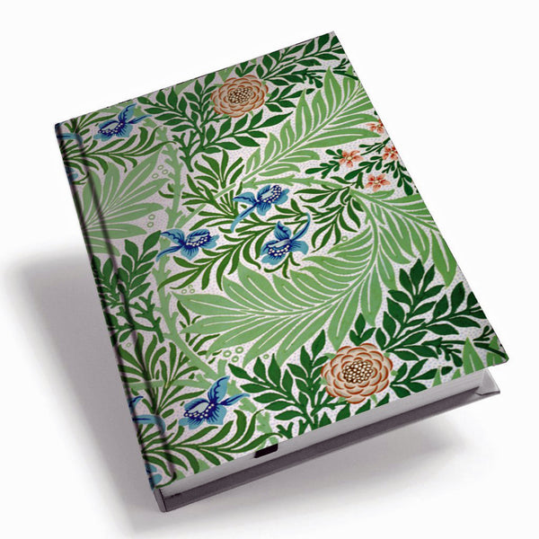 <p>A5 hardback notebook with the Larkspur design by William Morris on the cover.</p>