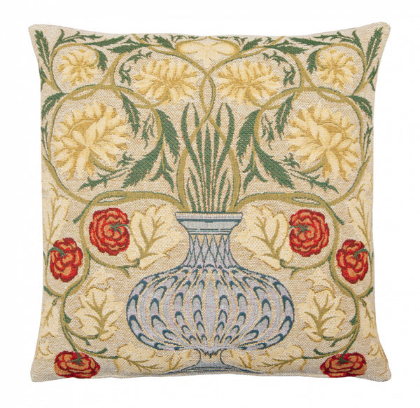 <p>Fine quality jacquard loom woven tapestry cushion with a beige velvet back in a design inspired by William Morris's flowerpot motif.</p>