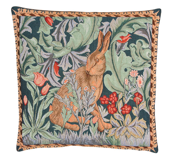 <p>Fine quality cotton jacquard woven tapestry cushion with beige velvet back in William Morris The Hare - facing left - design. Has a concealed zip fastener and removable feather pad.</p>