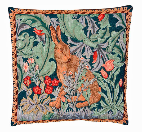 Pair of William Morris The Hare - Left & Right - Tapestry Cushions