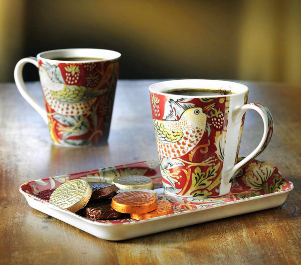 Morris & Co for Pimpernel Strawberry Thief Red Mugs & Tray Set