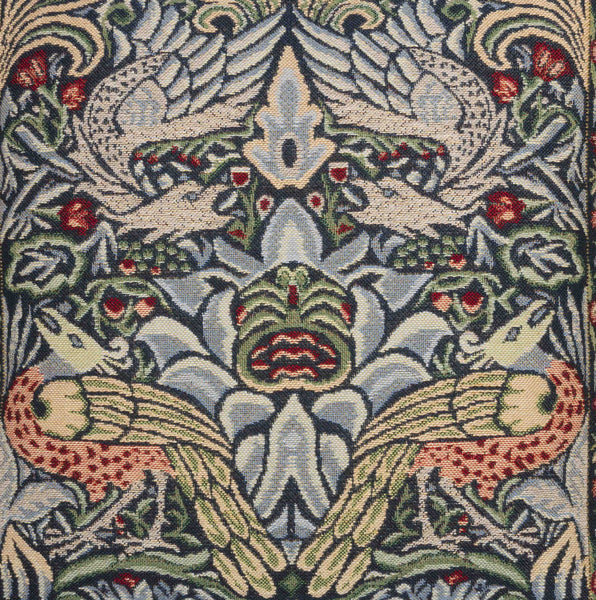 William Morris Blue Peacock and Dragon Tapestry Cushion