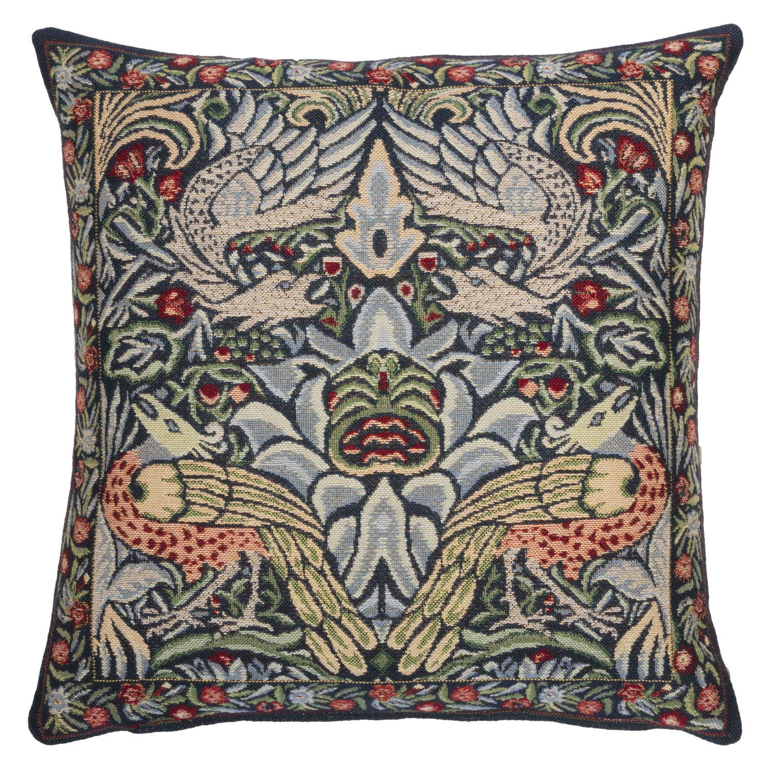 <p>Fine quality jacquard loom woven tapestry cushion with a beige velvet back in the blue Peacock and Dragon design by William Morris.</p>