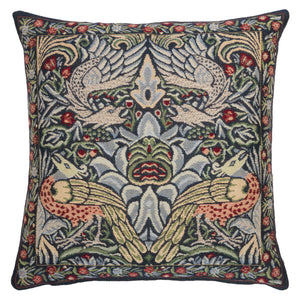 <p>Fine quality jacquard loom woven tapestry cushion cover with a beige velvet back in the blue Peacock and Dragon design by William Morris.</p>