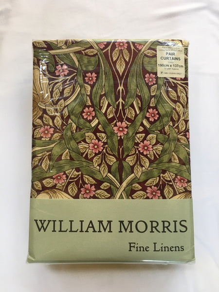 Pair of William Morris Pimpernel Aubergine Lined Curtains - 3 lengths