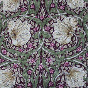 <p>Pair of lined curtains in William Pimpernel Aubergine design measuring 190 cm x 137 cm. Made from Morris & Co. Sanderson fabric.</p>