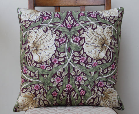 <p>Cotton cushion cover in William Morris Pimpernel aubergine print. Morris & Co. Sanderson fabric.</p>