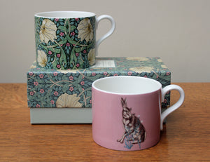 Spode William Morris Pimpernel & Forest Hare Mugs, Set of 2 in a Gift Box