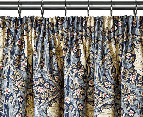 Pair of William Morris Pimpernel Blue Lined Curtains - 3 lengths