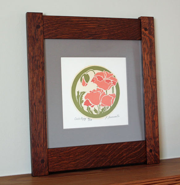 Framed 'Poppy' Circle Print