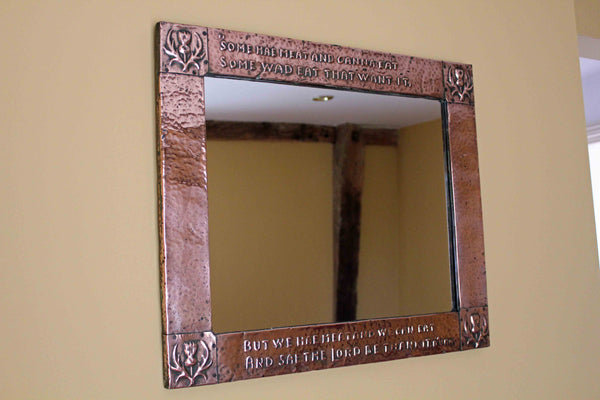 Hammered Copper Arts & Crafts Mirror