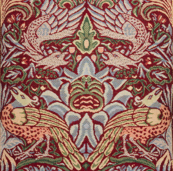 William Morris Red Peacock and Dragon Tapestry Cushion