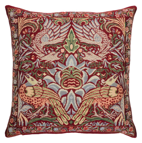 <p>Fine quality jacquard loom woven tapestry cushion with a beige velvet back in the red Peacock and Dragon design by William Morris.</p>