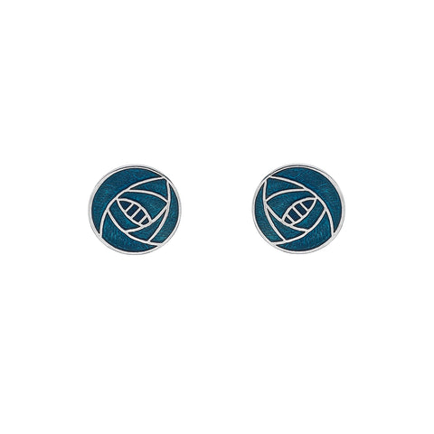 Sea Gems Mackintosh Enamel Turquoise Blue Rose Stud Earrings