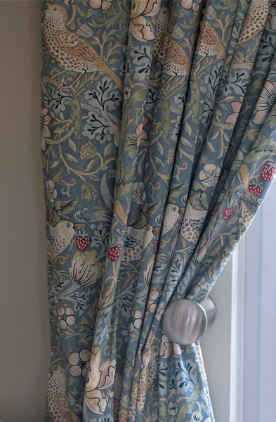 Pair of William Morris Strawberry Thief Slate Lined Curtains - 3 lengths