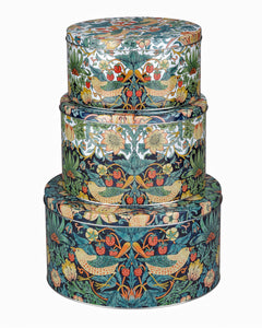 <p>Set of 3 cake tins by Spode in the charming Strawberry Thief design by William Morris. </p>