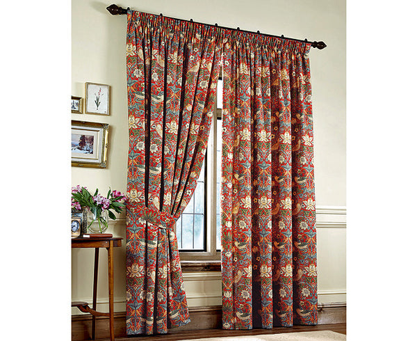 Pair of William Morris Strawberry Thief Crimson Lined Curtains - 3 lengths