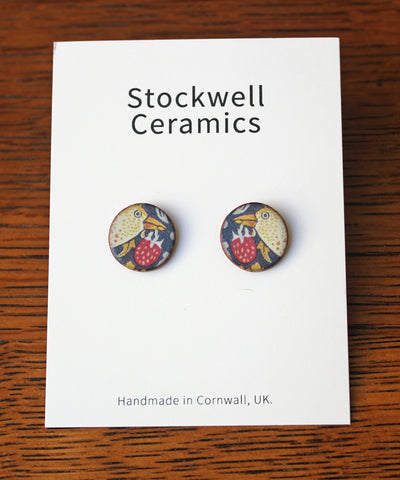 Stockwell Ceramics Strawberry Thief Stud Earrings