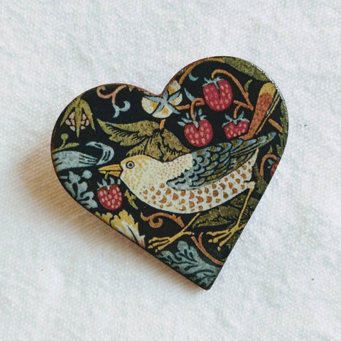 Stockwell Ceramics Strawberry Thief Heart Brooch