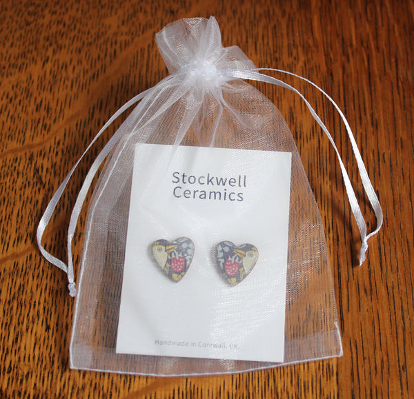 Stockwell Ceramics Strawberry Thief Heart Stud Earrings