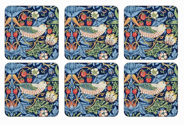 Morris & Co for Pimpernel Strawberry Thief Blue Coasters - Set of 6