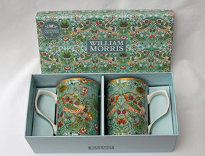 Set of 2 William Morris Strawberry Thief Fine China Mugs